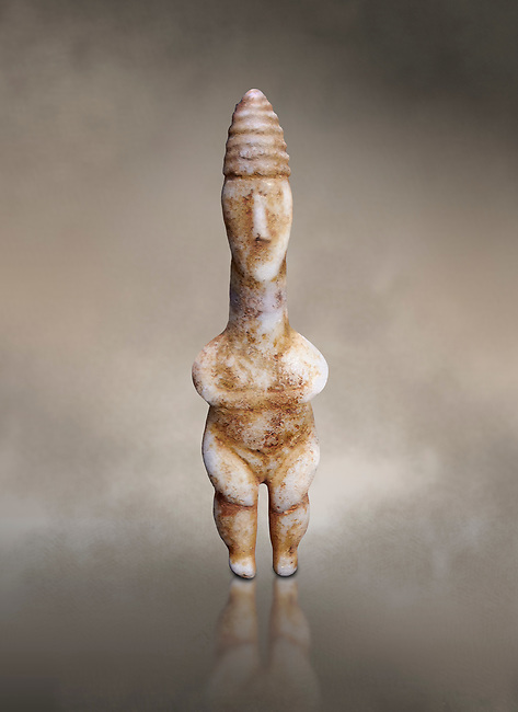 Marble ancient Greek Cycladic figurine wearing a conical pilos, early Plastiras type, Early Cycladic Period I, circal 2800 BC, Museum of Cycladic Art Athens, cat no 1111