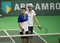 Rotterdam, Netherlands, 12 februari, 2017, ABNAMROWTT,  Doubles Qualyfying final Tallon Griekspoor/Niels Lootsma (R)<br /> Photo: Henk Koster