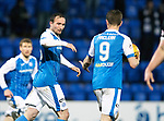 St Johnstone v Hibs…16.03.18…  McDiarmid Park    SPFL<br />Chris Kane celebrates his goal with Steve MacLean<br />Picture by Graeme Hart. <br />Copyright Perthshire Picture Agency<br />Tel: 01738 623350  Mobile: 07990 594431