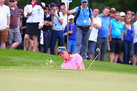 Luke Donald chips out of a bunker on the 5th green during the BMW PGA Golf Championship at Wentworth Golf Course, Wentworth Drive, Virginia Water, England on 27 May 2017. Photo by Steve McCarthy/PRiME Media Images.