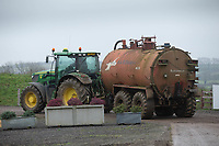 10/12/2020 Tractor and tanker carting slurry from a dairy farm<br /> ©Tim Scrivener Photographer 07850 303986<br />      ....Covering Agriculture In The UK....