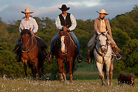 3 riders on horseback riding up a hill with their dog