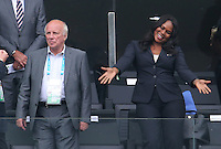 FA Chairman Greg Dyke and Unamed Fifa official  watch from the Stands pre Game