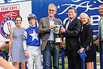 Toronto, ON - September  17:   Tepin, #8, riden by Julien R. Leparoux in the winner's circle  at the Ricoh Woodbine Mile Stakes  at Woodbine Race Course on September 17, 2016 in Toronto, Ontario. (Photo by Sophia Shore/Eclipse Sportswire/Getty Images)