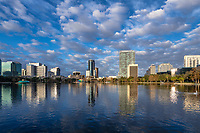 City skyline and Lake Eola, Orlando, Florida, USA.