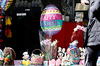 NEW YORK - NEW YORK - APRIL 03: Easter decorations are displaying in a store window on April 03, 2021 in New York. NYC and most of the United States are planning a year later after pandemic, the celebration of the of Easter which may return with some of normalcy under New York state guidelines. (Photo by John Smith/VIEWpress)
