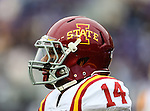 Iowa State Cyclones defensive back Jared Brackens (14) in action during the game between the Iowa State Cyclones and the TCU Horned Frogs  at the Amon G. Carter Stadium in Fort Worth, Texas. Iowa State defeats TCU 37 to 23.