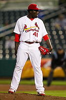 Maikel Cleto (41) of the Springfield Cardinals on the mound during a game against the Northwest Arkansas Naturals on May 13, 2011 at Hammons Field in Springfield, Missouri.  Photo By David Welker/Four Seam Images.