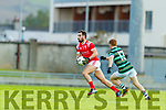 Jack Sherwood, East Kerry in action against Alan O'Donoghue, St. Brendan's Board during the Kerry County Senior Football Championship Semi-Final match between East Kerry and St Brendan's at Austin Stack Park in Tralee, Kerry.