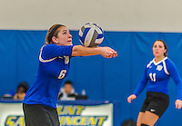 18 October 2015: Yeshiva University Maccabee Setter and Defensive Specialist Yael Ghelman, a Sophomore from Houston, TX, bumps during game action against the Sage College Gators, at the Peter Sharp Center, College of Mount Saint Vincent, in Riverdale, NY. The Gators defeated the Maccabees 3-0 in the NCAA Division III Women's Volleyball Skyline matchup. Mandatory Credit: Ed Wolfstein Photo *** RAW (NEF) Image File Available ***