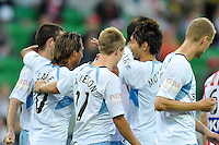 MELBOURNE, AUSTRALIA - FEBRUARY 12: Nick Carle of Sydney FC celebrates his goal in the round 27 A-League match between the Melbourne Heart and Sydney FC at AAMI Park on February 12, 2011 in Melbourne, Australia. (Photo Sydney Low / AsteriskImages.com)