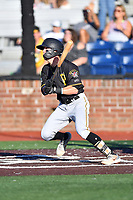 Bristol Pirates Joshua Bissonette (14) swings at a pitch during game two of the Appalachian League, West Division Playoffs against the Johnson City Cardinals at TVA Credit Union Ballpark on August 31, 2019 in Johnson City, Tennessee. The Cardinals defeated the Pirates 7-4 to even the series at 1-1. (Tony Farlow/Four Seam Images)