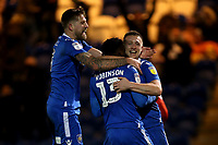 Theo Robinson of Colchester United scores the third goal for his team and celebrates with his team mates during Colchester United vs Swindon Town, Sky Bet EFL League 2 Football at the JobServe Community Stadium on 28th January 2020