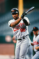Albert Belle of the Baltimore Orioles during a game against the Anaheim Angels at Angel Stadium circa 1999 in Anaheim, California. (Larry Goren/Four Seam Images)