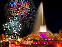 Buckingham Fountain in Grant Park Chicago, Illinois.  Fireworks from the annual Venetian Night Parade.