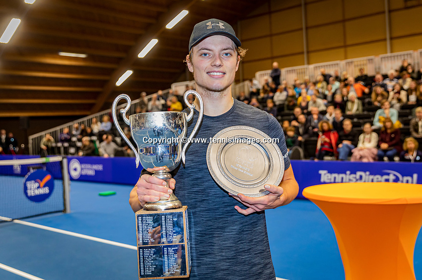 Alphen aan den Rijn, Netherlands, December 22, 2019, TV Nieuwe Sloot,  NK Tennis, Final men single:  Winner Tim van Rijthoven (NED) with the trophy<br /> Photo: www.tennisimages.com/Henk Koster