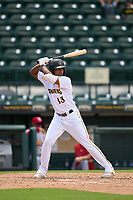Bradenton Marauders Sergio Campana (13) bats during a game against the Palm Beach Cardinals on May 30, 2021 at LECOM Park in Bradenton, Florida.  (Mike Janes/Four Seam Images)