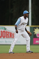 Myrtle Beach Pelicans shortstop Hanser Alberto #12 in the field during a game against the Winston-Salem Dash at Ticketreturn.com Field at Pelicans Park on July 11, 2012 in Myrtle Beach, South Carolina. Myrtle Beach defeated Winston-Salem by the score of 7-1. (Robert Gurganus/Four Seam Images)