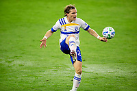 LOS ANGELES, CA - SEPTEMBER 02: Florian Jungwirth #23 of the San Jose Earthquakes traps a ball during a game between San Jose Earthquakes and Los Angeles FC at Banc of California stadium on September 02, 2020 in Los Angeles, California.