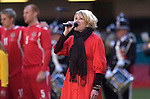 Cerys Matthews singing the Welsh National Anthem at the start of the FIFA 2010 World Cup Qualifier Group 4 match between Wales and Finland at the Millennium Stadium today.