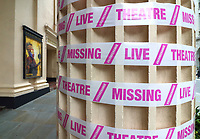 Some West End Theatres have been wrapped in pink barrier tape in support of The Missing Live Theatre campaign by Scene Change, the collective of British Theatre Designers. The follows the news that a team of 400 casual workers would be laid off by TheNational Theatre in a move it said was unavoidable due to the Covid-19 crisis. It is looking increasingly likely that no theatre productions will be seen before 2021. July 4th 2020<br /> <br /> Photo by Keith Mayhew