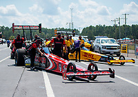 Sep 26, 2020; Gainesville, Florida, USA; Crew members for NHRA top fuel driver Billy Torrence and Shawn Langdon during qualifying for the Gatornationals at Gainesville Raceway. Mandatory Credit: Mark J. Rebilas-USA TODAY Sports