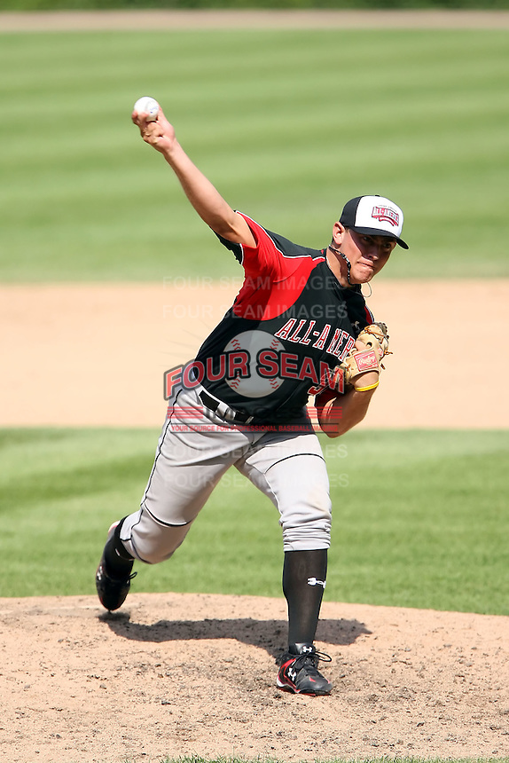 August 18 2008:  Matthew Graham (30) of the Baseball Factory team during the 2008 Under Armour All-American Game at Wrigley Field in Chicago, IL.  Photo by:  Mike Janes/Four Seam Images