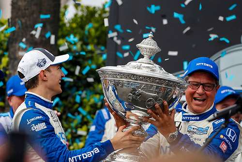 #10: Alex Palou, Chip Ganassi Racing Honda celebrates on the Champions podium with crew chief Ricky Davis