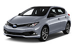 2018 Toyota Auris Hybrid Black Edition 5 Door Hatchback angular front stock photos of front three quarter view