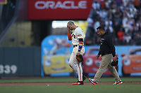 SAN FRANCISCO, CA - JUNE 5: Evan Longoria #10 of the San Francisco Giants walks off the field after being injured against the Chicago Cubs during the game at Oracle Park on Saturday, June 5, 2021 in San Francisco, California. (Photo by Brad Mangin)