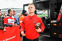 Fleetwood Town's midfielder Kyle Dempsey (8) arriving for the Sky Bet League 1 match between Doncaster Rovers and Fleetwood Town at the Keepmoat Stadium, Doncaster, England on 6 October 2018. Photo by Stephen Buckley / PRiME Media Images.