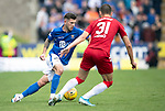 St Johnstone v Rangers…22.09.19   McDiarmid Park   SPFL<br />Matty Kennedy is closed down by Borna Barisic<br />Picture by Graeme Hart.<br />Copyright Perthshire Picture Agency<br />Tel: 01738 623350  Mobile: 07990 594431