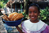 Girl selling tortillas. Chiapas, Mexico