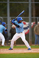 Indiana State Sycamores Brian Fuentes (3) bats during a game against the Dartmouth Big Green on February 21, 2020 at North Charlotte Regional Park in Port Charlotte, Florida.  Indiana State defeated Dartmouth 1-0.  (Mike Janes/Four Seam Images)
