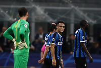 Football Soccer: UEFA Champions League -Group Stage- Group F Internazionale Milano vs Borussia Dortmund, Giuseppe Meazza stadium, October 23, 2019.<br /> Inter's Lautaro Martinez (c) celebrates after scoring during the Uefa Champions League football match between Internazionale Milano and Borussia Dortmund at Giuseppe Meazza (San Siro) stadium, on October 23, 2019.<br /> UPDATE IMAGES PRESS/Isabella Bonotto