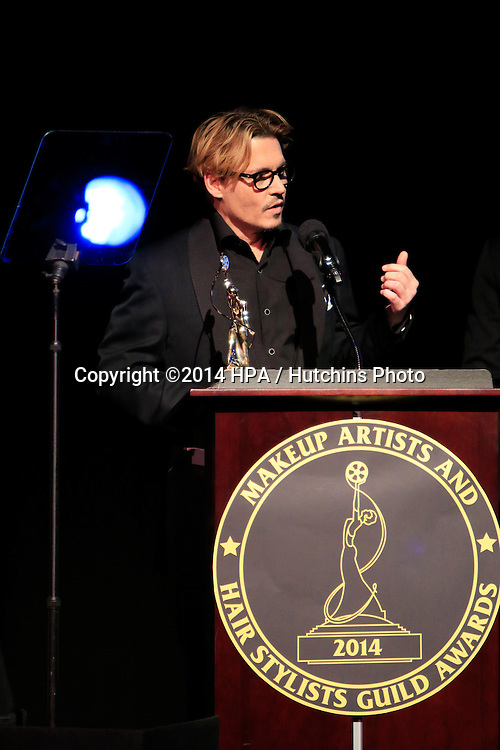 LOS ANGELES - FEB 15:  Johnny Depp receives the Distinguished Artisan Award at the at the Annual Make-Up Artists And Hair Stylists Guild Awards at Paramount Theater on February 15, 2014 in Los Angeles, CA