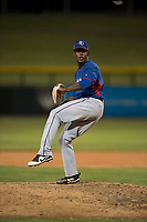 AZL Rangers relief pitcher Ediberto Encarnacion (31) delivers a pitch during an Arizona League game against the AZL Cubs 2 at Sloan Park on July 7, 2018 in Mesa, Arizona. AZL Rangers defeated AZL Cubs 2 11-2. (Zachary Lucy/Four Seam Images)
