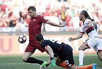 Calcio, Serie A: Roma, stadio Olimpico, 28 maggio 2017.<br /> AS Roma's Edin Dzeko (c) scores during the Italian Serie A football match between AS Roma and Genoa at Rome's Olympic stadium, May 28, 2017.<br /> Francesco Totti's final match with Roma after a 25-season career with his hometown club.<br /> UPDATE IMAGES PRESS/Isabella Bonotto