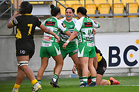 Crystal Mayes of the Manawatu celebrates with team mates after scoring a try during the Farah Palmer Cup Rugby – Wellington v Manawatu at Sky Stadium, Wellington, New Zealand on Friday 25 September 2020. <br /> Photo by Masanori Udagawa. <br /> www.photowellington.photoshelter.com