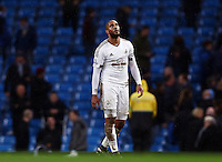 Ashley Williams of Swansea City looks dejected at the end of the game during the Barclays Premier League match between Manchester City and Swansea City played at the Etihad Stadium, Manchester on December 12th 2015