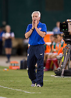 USWNT head coach Tom Sermanni yells to his team during an international friendly at RFK Stadium in Washington, DC.  The USWNT defeated Mexico, 7-0.