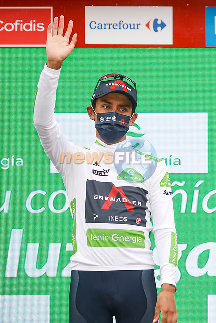 Egan Bernal (COL) Ineos Grenadiers retains the young riders White Jersey at the end of Stage 17 of La Vuelta d'Espana 2021, running 185.8km from Unquera to Lagos de Covadonga, Spain. 1st September 2021.    <br /> Picture: Luis Angel Gomez/Photogomezsport | Cyclefile<br /> <br /> All photos usage must carry mandatory copyright credit (© Cyclefile | Luis Angel Gomez/Photogomezsport)