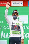 Egan Bernal (COL) Ineos Grenadiers retains the young riders White Jersey at the end of Stage 17 of La Vuelta d'Espana 2021, running 185.8km from Unquera to Lagos de Covadonga, Spain. 1st September 2021.    <br /> Picture: Luis Angel Gomez/Photogomezsport   Cyclefile<br /> <br /> All photos usage must carry mandatory copyright credit (© Cyclefile   Luis Angel Gomez/Photogomezsport)