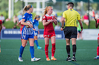 Boston, MA - Saturday July 01, 2017: Tori Huster and Referee Elvis Osmanovic during a regular season National Women's Soccer League (NWSL) match between the Boston Breakers and the Washington Spirit at Jordan Field.