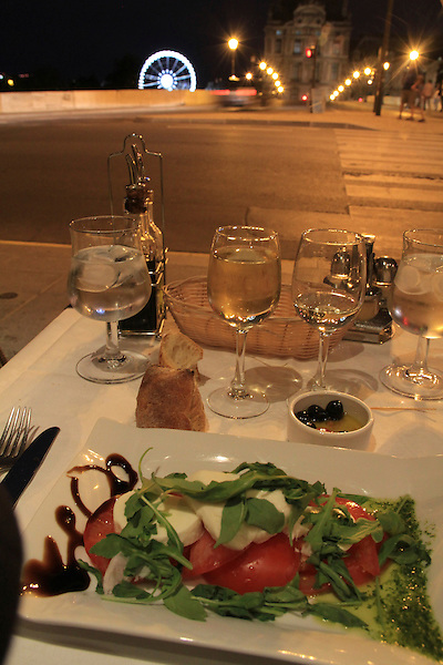 Dinner across from the Louvre Museum, Paris, France,