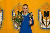 Rotterdam, The Netherlands, 15.03.2014. NOJK 14 and 18 years ,National Indoor Juniors Championships of 2014, Runner up girls 14 years: Stephanie Visscher Photo:Tennisimages/Henk Koster