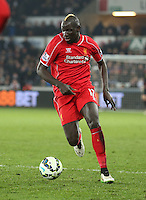 SWANSEA, WALES - MARCH 16: Mamadou Sakho of Liverpool in action during the Premier League match between Swansea City and Liverpool at the Liberty Stadium on March 16, 2015 in Swansea, Wales
