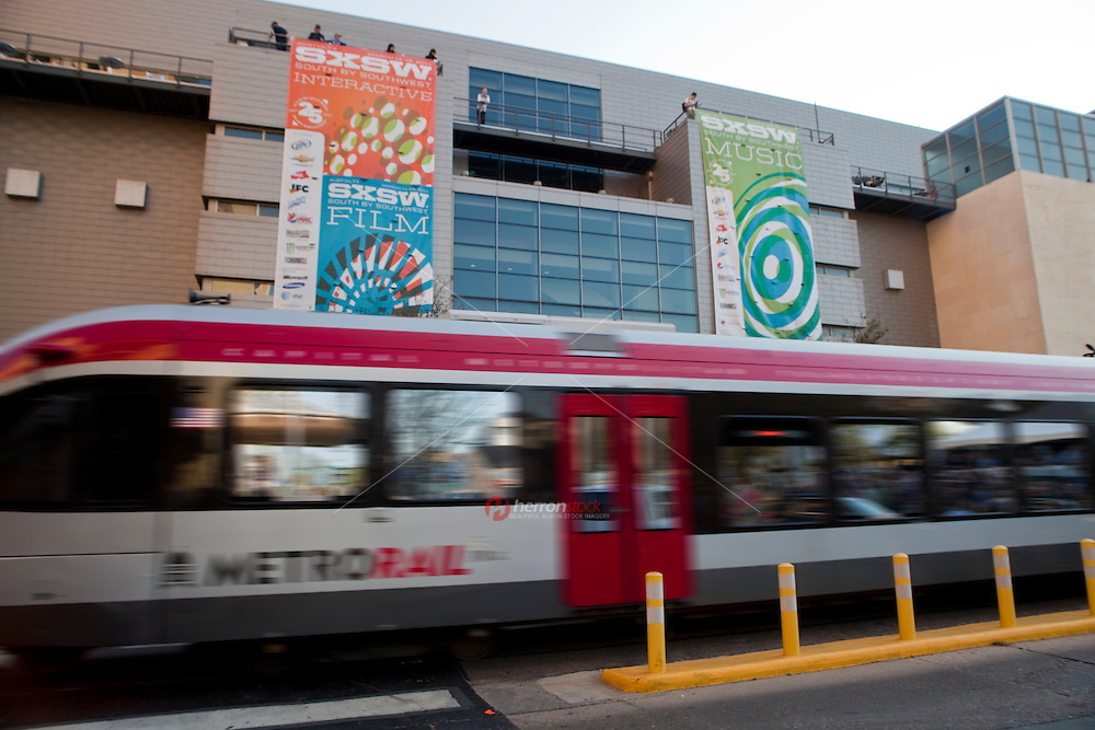 Capital Metro Rail departs the Convention Center Station at the downtown Austin Convention Center during the annual music, film and interactive festival