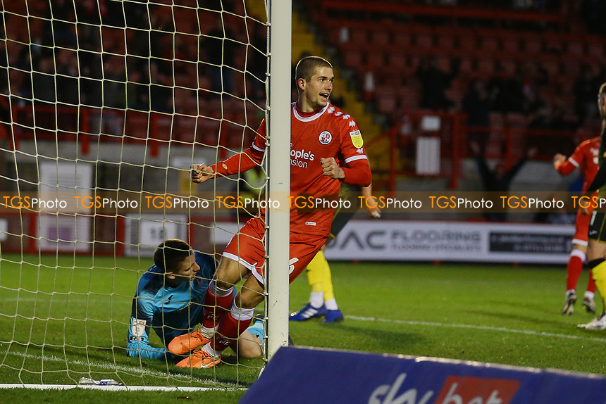 Max Watters of Crawley Town scores the second goal for his team and celebrates during Crawley Town vs Barrow, Sky Bet EFL League 2 Football at Broadfield Stadium on 12th December 2020