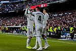 Real Madrid's (L-R) Luka Modric, Sergio Ramos and Sergio Reguilon celebrate goal during La Liga match between Real Madrid and Real Valladolid at Santiago Bernabeu Stadium in Madrid, Spain. November 03, 2018. (ALTERPHOTOS/A. Perez Meca)